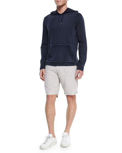 Long-Sleeve Knit Pullover Hoodie & Triple-Needle Woven Linen Shorts
