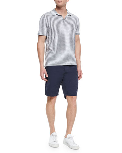 Short-Sleeve Striped Polo Shirt & Woven Cotton Twill Short