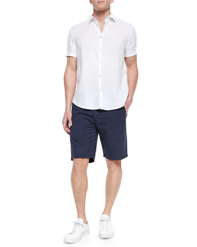 Short-Sleeve Woven Linen Shirt & Woven Cotton Twill Shorts