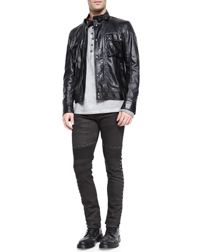 Racemaster Leather Jacket, Chirton Long-Sleeve Henley Shirt & Eastham Studded Slim Stretch Jeans