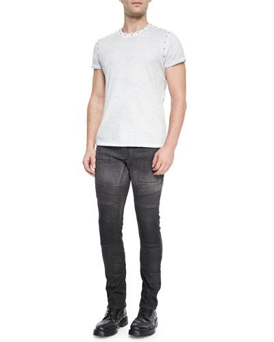 Kingman Studded Crewneck Tee & Standen Slim-Fit Degrade Jeans