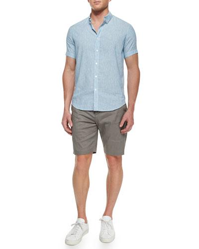 Striped Short-Sleeve Linen Shirt & Flat-Front Linen-Blend Shorts