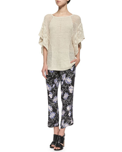 Wide-Knit Flutter-Sleeve Top & Floral-Print Cropped Silk Pants