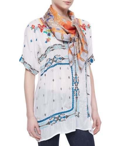Danny Short-Sleeve Embroidered Blouse & Aim Silk Print Scarf