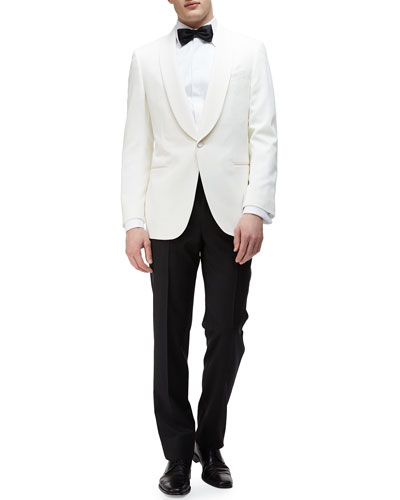Shawl-Collar Satin Evening Jacket & Satin-Taped Formal Wool Trousers