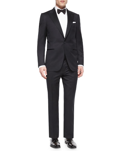 One-Button Wool Tuxedo Jacket & Satin-Taped Formal Wool Trousers, Black