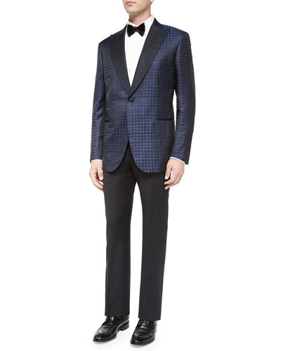 Exaggerated Houndstooth Dinner Jacket & Satin-Taped Formal Wool Trousers
