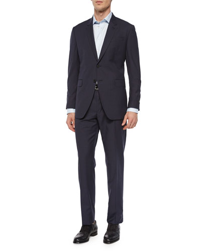 Mini-Check Two-Button Sport Coat & Wool Trousers, Navy