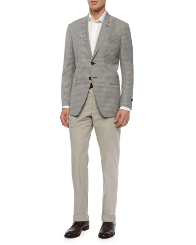 Mini-Check Two-Button Sport Coat & Flat-Front Cotton Trousers