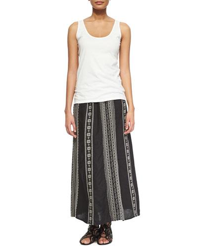 Scoop-Neck Cotton Tank & Femme Linen Maxi Skirt, Women's