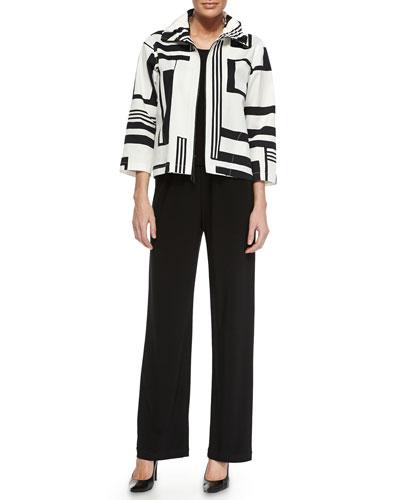 Graphic-Print Stretch Short Jacket, Basic Knit Tank & Stretch-Knit Straight-Leg Pants, Petite