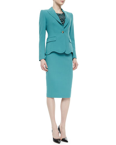 Wave-Edge Single-Button Jacket & Belted Gabardine Pencil Skirt