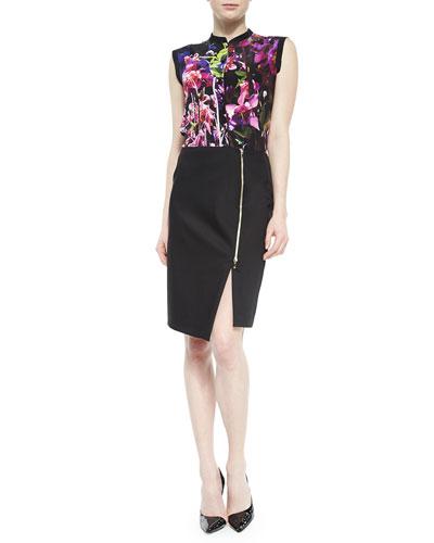 Floral-Print Silk Blouse & Asymmetric Zip-Slit Pencil Skirt