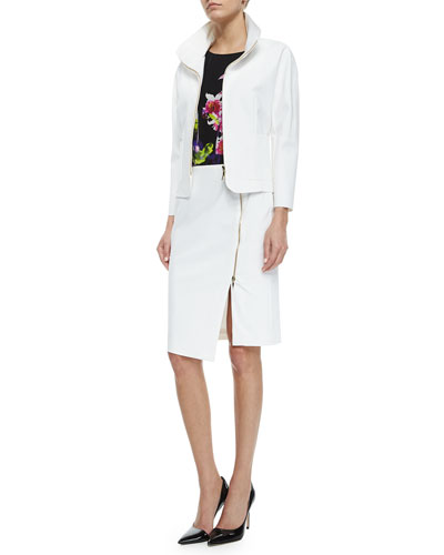Scuba-Knit Zip-Front Swing Jacket, Cap-Sleeve Floral-Print Silk Top & Asymmetric Zip-Slit Pencil Skirt
