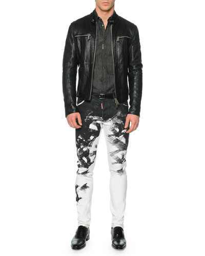 Pebbled Leather Moto-Style Jacket, Long-Sleeve Denim Western Shirt & Cool Guy Crow-Print Skinny Jeans