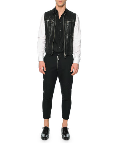 Leather Moto Vest, Button-Down Shirt with Contrast Bib & Hockney Zipper Moto Pants