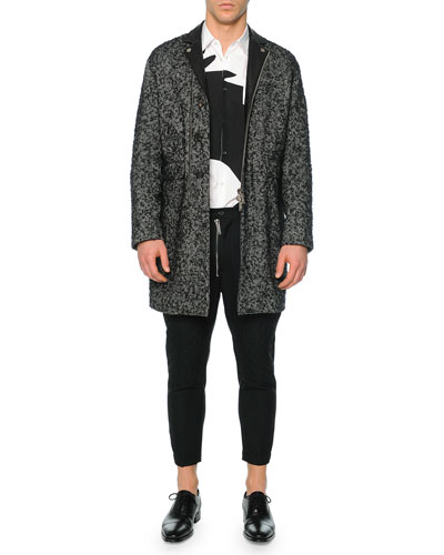 Herringbone Topcoat with Leather Accents, Long-Sleeve Crow-Graphic Sport Shirt & Hockney Zipper Moto Pants