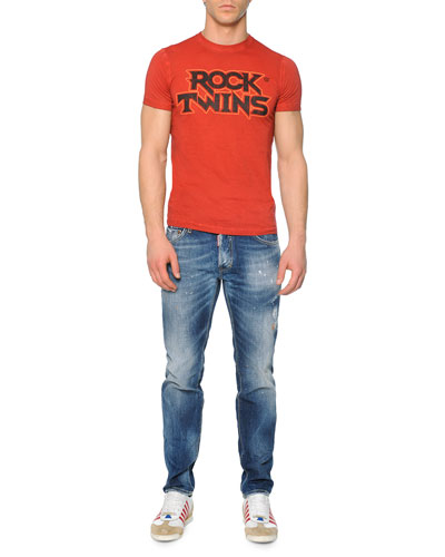 Red Rock Twins-Printed Tee & Slim-Fit Distressed Jeans