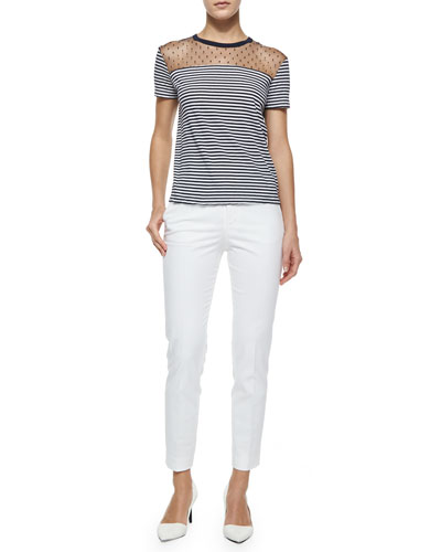 Short-Sleeve Striped Tee W/ Swiss Dot Yoke & Straight-Leg Gabardine Ankle Pants,