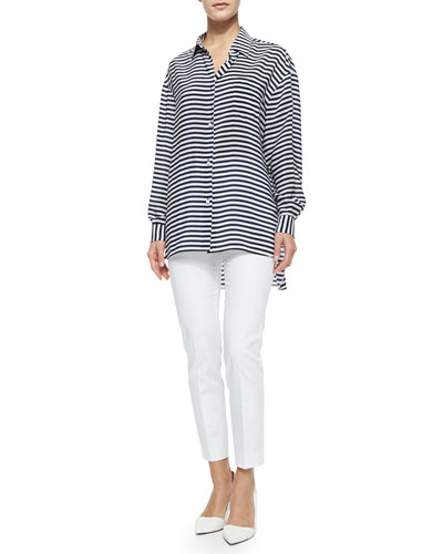 Long-Sleeve Striped Crepe de Chine Tunic & Straight-Leg Gabardine Ankle Pants