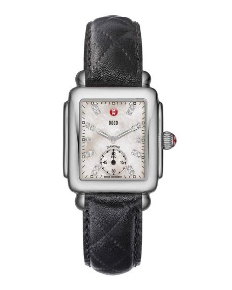MICHELE 16mm Deco Diamond Dial Watch Head, Steel