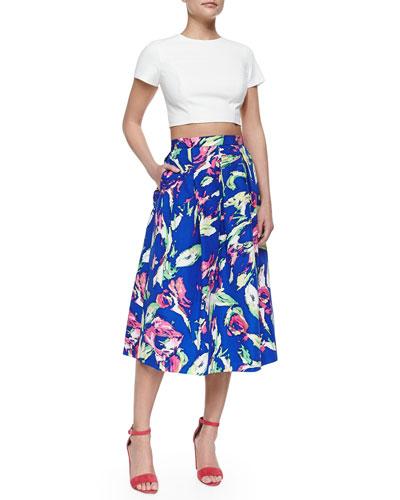 Edna Short-Sleeve Crop Top & Jackie Floral-Print Tea-Length Full Skirt