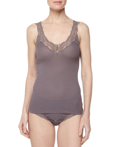 Valencia Lace-Strap Tank Top & High-Waisted Lace-Trim Bikini Briefs, Sparrow