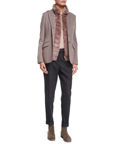 Cashmere Herringbone Three-Button Jacket, Zip-Front Chinchilla Fur Combo Vest, Classic Charmeuse Button Blouse & Jari Speckled Flannel Cuffed Pants