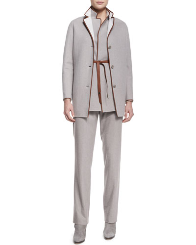 Barnet Leather-Trimmed Caban Coat, Brett Belted Leather-Trimmed Vest, Rosalyn Bias-Placket Blouse & Bob Flannel Pleated Trousers