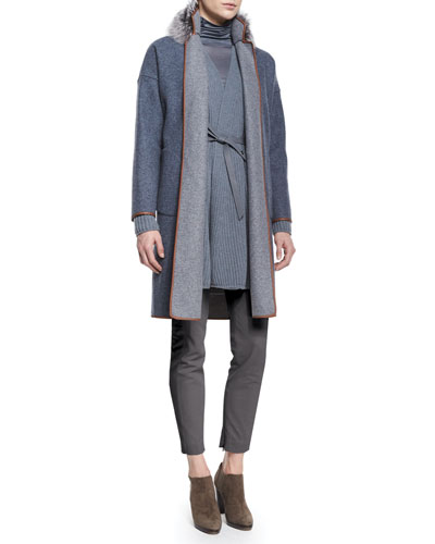 Fox Fur-Collar Reversible Belted Coat, Draped-Front Belted Cardigan, Cashmere-Blend Funnel-Neck Top & Devin Twill Skinny Pants