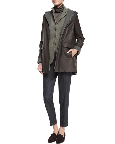 Loro Piana Colin Hooded Leather Coat