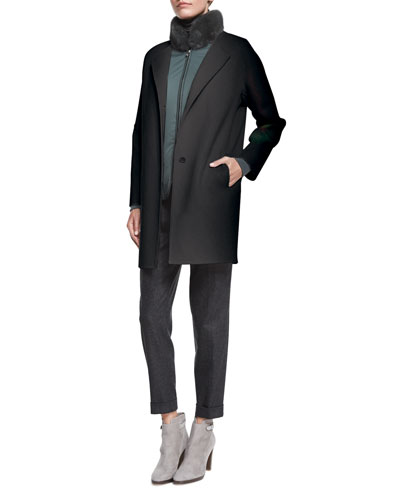 Dean Cashmere Button-Front Coat, Linwood Mink-Collar Wind Jacket & Jari Speckled Flannel Cuffed Pants