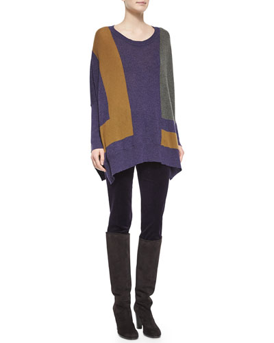 Colorblock Knit Poncho Sweater & Mathias Velvet Skinny Jeans