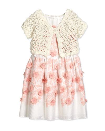 Short-Sleeve Crochet Bolero, White