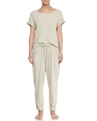 Casual Cotton Pullover Top & Lounge Pants, Pearl Gray