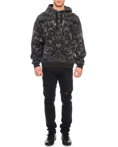 Flocked Crown-Graphic Hoodie & Destroyed Denim Jeans