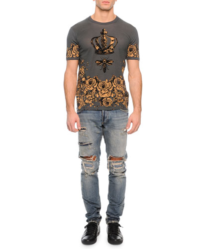 Crown/Bee Printed Knit Tee & Super Destroyed Light Wash Denim Jeans