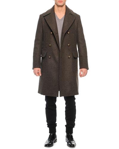 Long Double-Breasted Coat, Basic V-Neck Tee & Zip-Pocket Drawstring Sweatpants