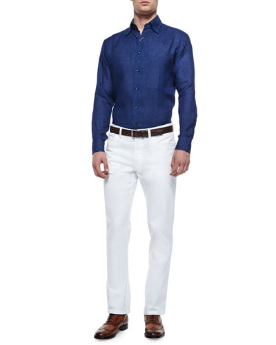 Solid Long-Sleeve Linen Shirt & Poplin Five-Pocket Stretch Pants