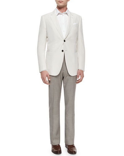 Two-Button Solid Sport Coat & Mini Neat-Check Flat-Front Trousers
