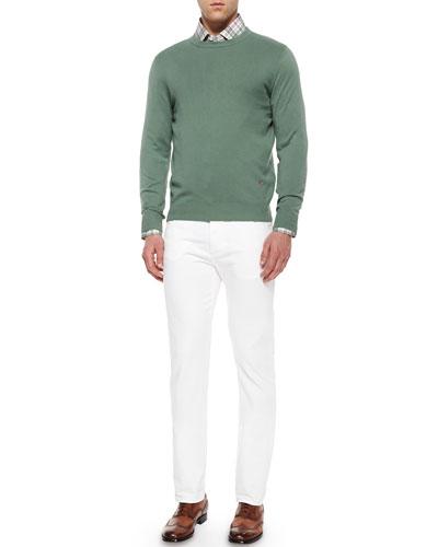 Cotton Crewneck Sweater, Windowpane Plaid Woven Shirt & Five-Pocket Slim-Fit Denim Jeans