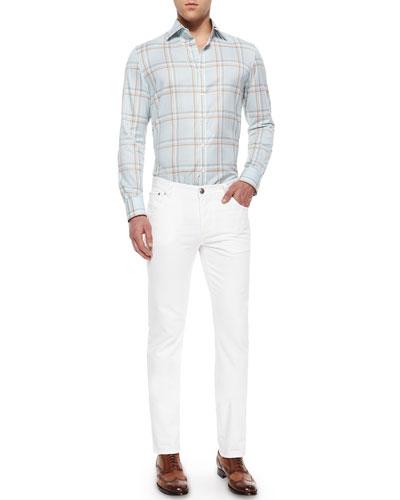 Windowpane Plaid Woven Sport Shirt & Five-Pocket Slim-Fit Denim Jeans