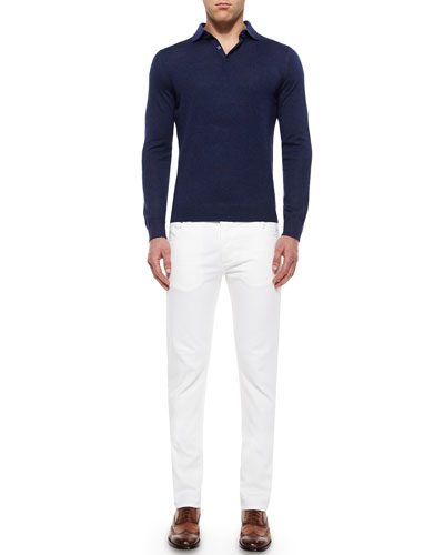 Long-Sleeve Cashmere Polo Sweater & Five-Pocket Slim-Fit Denim Jeans