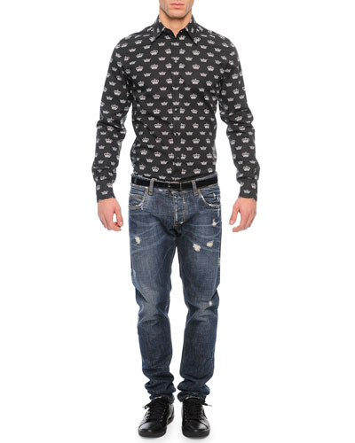 Allover Crown Print Button-Down Shirt & Medium-Wash Distressed Denim Jeans