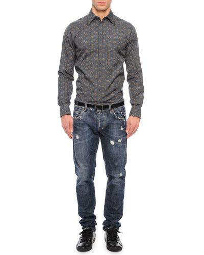 Bee-Print Long-Sleeve Shirt & Medium-Wash Distressed Denim Jeans