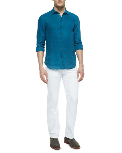 Solid Long-Sleeve Linen Shirt & Five-Pocket Stretch-Knit Jeans