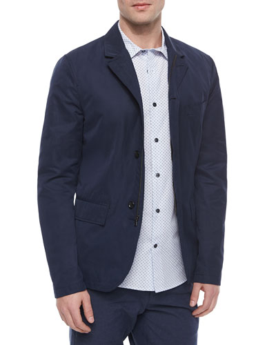 Three-Button Tech Blazer & Melrose Dot-Patterned Long-Sleeve Shirt