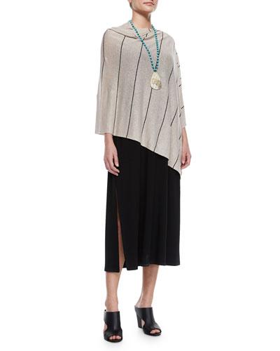 Eileen Fisher Organic Linen Pinstripe Poncho & Floor-Length