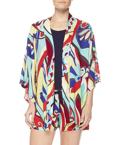 Mosaic Floral-Print Happi Coat, Swing Knit Tank & Floral-Print Shorts