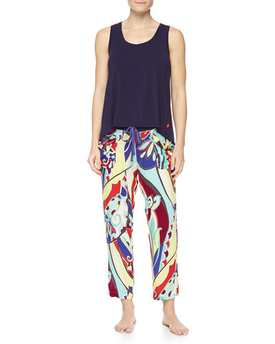 Swing Knit Tank with High-Low Hem & Mosaic Floral-Print Lounge Pants
